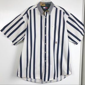 Tommy Hilfiger L Logo Contrast Collar Cotton Shirt